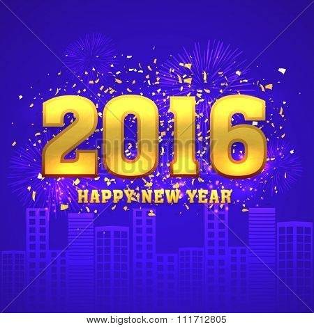 Shiny golden text 2016 on fireworks decorated urban city background for Happy New Year celebration.