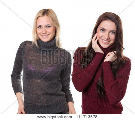 Collage two women, portrait of a beautiful happy girls in a knitted jacket