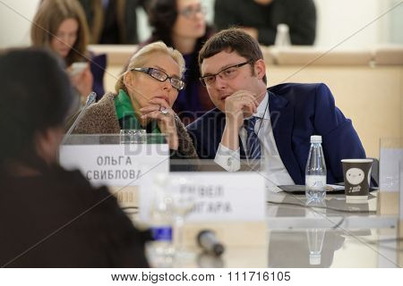 ST. PETERSBURG, RUSSIA - DECEMBER 13, 2015: Director of Multimedia Art Museum Olga Sviblova (left) and executive director of Moscow Museum of Contemporary Art Vasily Tsereteli during Cultural Forum