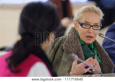 ST. PETERSBURG, RUSSIA - DECEMBER 13, 2015: Director of Multimedia Art Museum and film maker Olga Sviblova during the round table discussion in Manege as part of the 4th International Cultural Forum