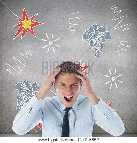 Stressed businessman shouting against grey room