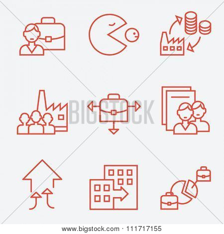 Mergers and acquisitions companies icons, thin line flat design
