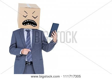 Anonymous businessman against white background with vignette