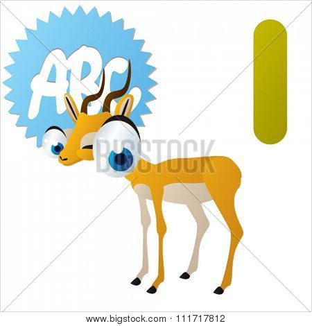 vector cartoon comic illustration for animal funny alphabet. Badges, stickers or logos or icons designs with animals. I is for Impala