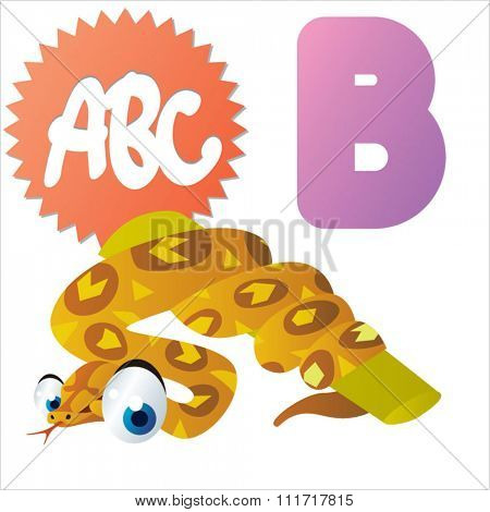 vector cartoon comic illustration for animal funny alphabet. Badges, stickers or logos or icons designs with animals. B is for Boa