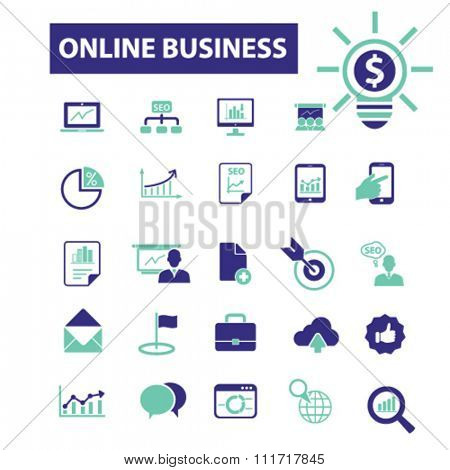 online earnings, money, banking  icons, signs vector concept set for infographics, mobile, website, application