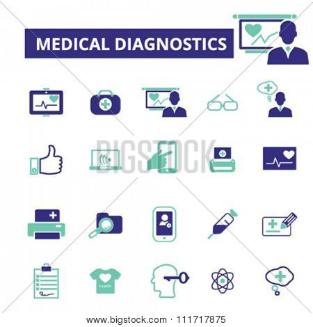 diagnostics, medical technology  icons, signs vector concept set for infographics, mobile, website, application