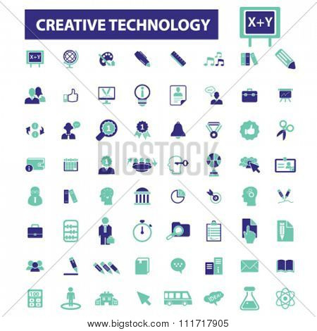 creative technology, ideas, creativity, creative thinking, creative marketing  icons, signs vector concept set for infographics, mobile, website, application
