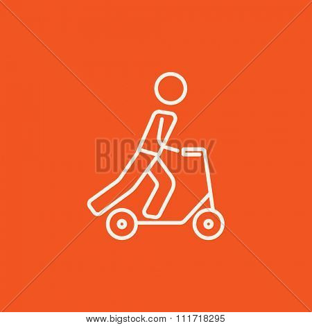 Man riding a kick scooter line icon for web, mobile and infographics. Vector white icon isolated on red background.