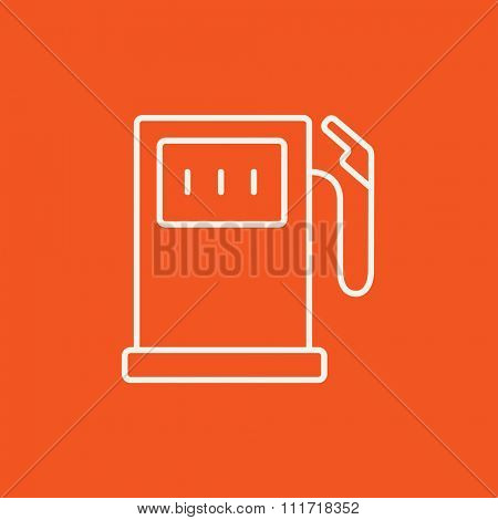 Gas station line icon for web, mobile and infographics. Vector white icon isolated on red background.