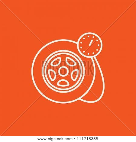 Pressure gauge tyre  line icon for web, mobile and infographics. Vector white icon isolated on red background.