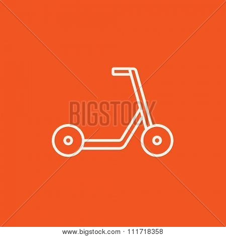 Kick scooter line icon for web, mobile and infographics. Vector white icon isolated on red background.