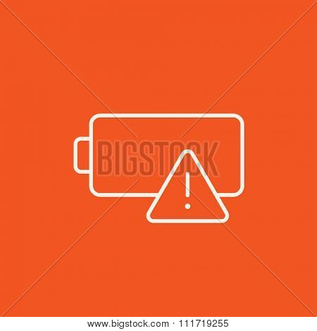 Empty battery line icon for web, mobile and infographics. Vector white icon isolated on red background.