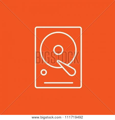 Hard disk line icon for web, mobile and infographics. Vector white icon isolated on red background.
