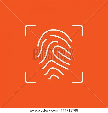 Fingerprint scanning line icon for web, mobile and infographics. Vector white icon isolated on red background.