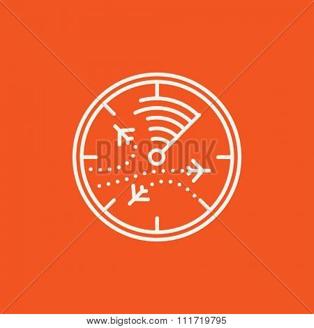 Radar screen with planes line icon for web, mobile and infographics. Vector white icon isolated on red background.