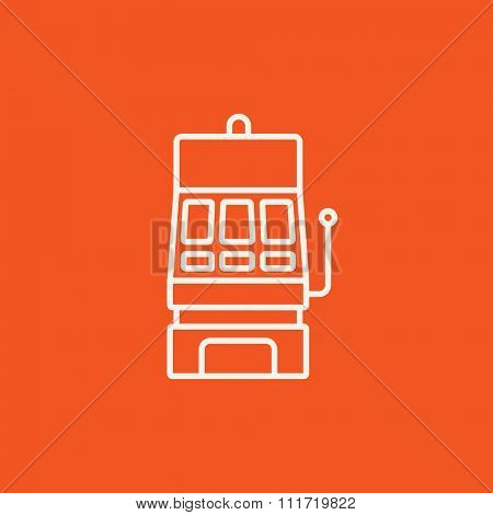 Slot machine line icon for web, mobile and infographics. Vector white icon isolated on red background.