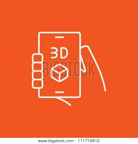 Smartphone with three D box line icon for web, mobile and infographics. Vector white icon isolated on red background.