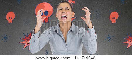 Furious businesswoman gesturing against grey room