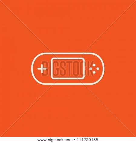 Game console gadget line icon for web, mobile and infographics. Vector white icon isolated on red background.