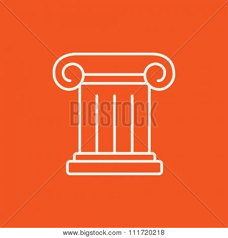Ancient column line icon for web, mobile and infographics. Vector white icon isolated on red background.