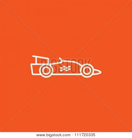 Race car line icon for web, mobile and infographics. Vector white icon isolated on red background.