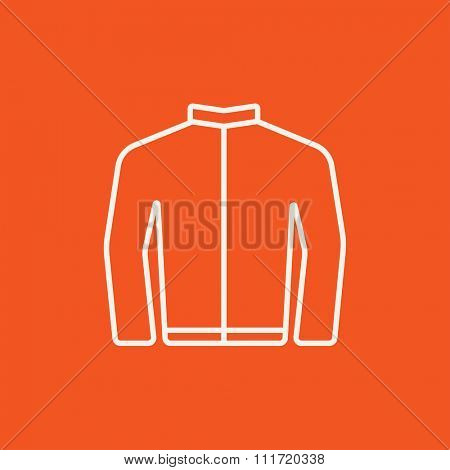 Biker jacket line icon for web, mobile and infographics. Vector white icon isolated on red background.