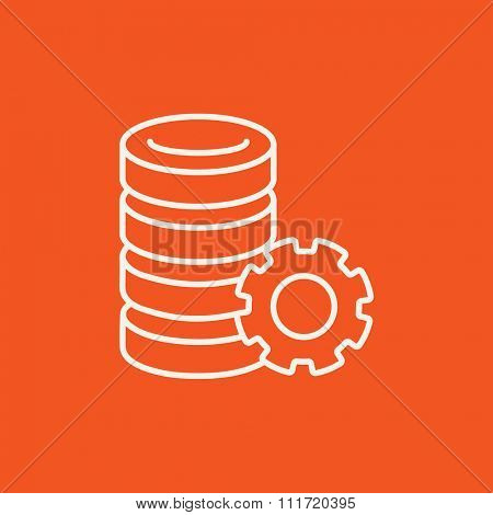 Server with gear line icon for web, mobile and infographics. Vector white icon isolated on red background.