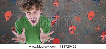 Portrait of furious man screaming over white background against grey room