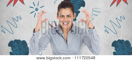 Furious businesswoman gesturing against white background