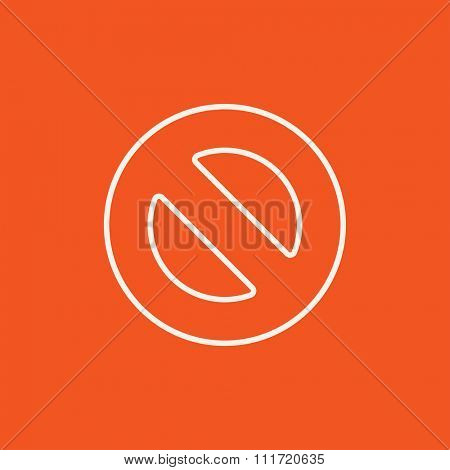 Not allowed sign line icon for web, mobile and infographics. Vector white icon isolated on red background.