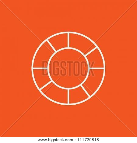 Lifebuoy line icon for web, mobile and infographics. Vector white icon isolated on red background.
