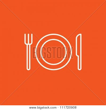 Plate with cutlery line icon for web, mobile and infographics. Vector white icon isolated on red background.