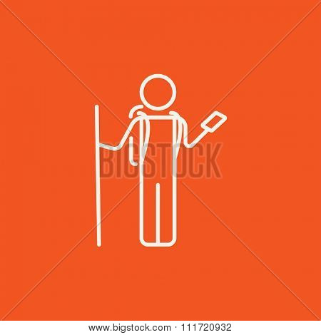 Tourist backpacker with phone line icon for web, mobile and infographics. Vector white icon isolated on red background.