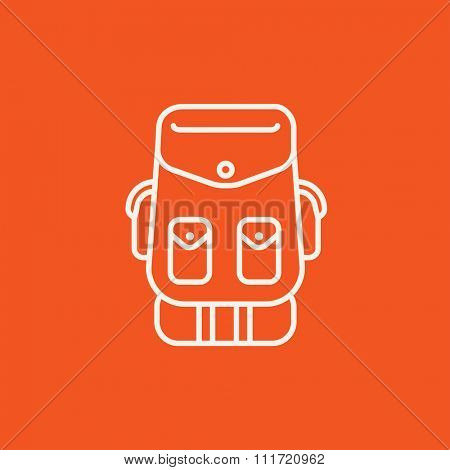 Backpack line icon for web, mobile and infographics. Vector white icon isolated on red background.
