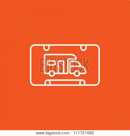 RV camping sign line icon for web, mobile and infographics. Vector white icon isolated on red background.