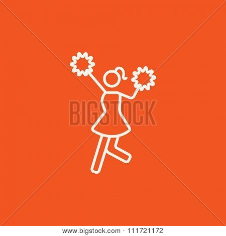 Cheerleader line icon for web, mobile and infographics. Vector white icon isolated on red background.