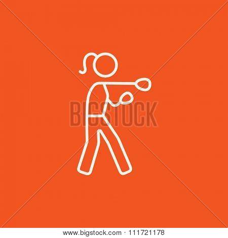 Female boxer line icon for web, mobile and infographics. Vector white icon isolated on red background.