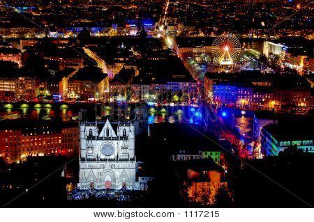Panorama Over Lyon At Night