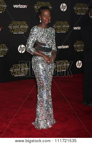 LOS ANGELES - DEC 14:  Lupita Nyong'o at the Star Wars: The Force Awakens World Premiere at the Hollywood & Highland on December 14, 2015 in Los Angeles, CA