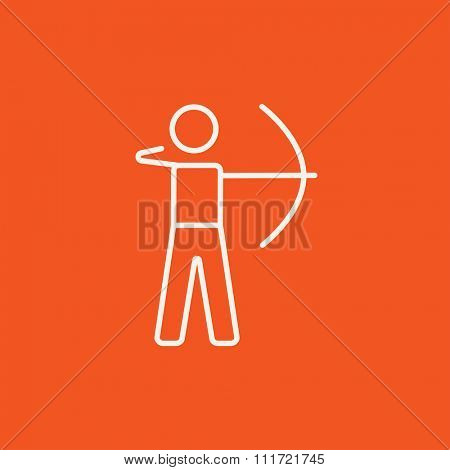 Archer training with the bow line icon for web, mobile and infographics. Vector white icon isolated on red background.
