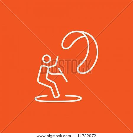 Kite surfing line icon for web, mobile and infographics. Vector white icon isolated on red background.