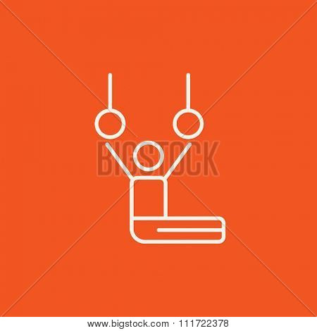 Gymnast performing on stationary rings line icon for web, mobile and infographics. Vector white icon isolated on red background.