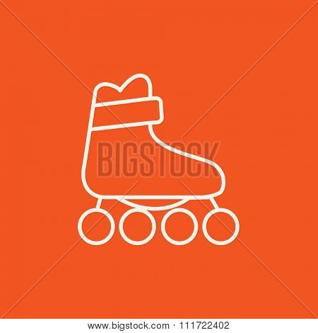 Roller skate line icon for web, mobile and infographics. Vector white icon isolated on red background.