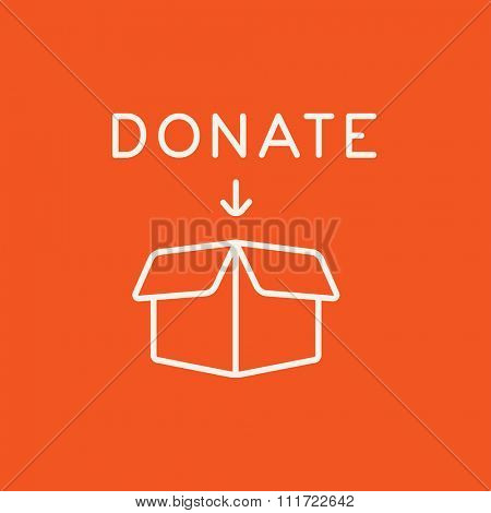 Open donation box line icon for web, mobile and infographics. Vector white icon isolated on red background.