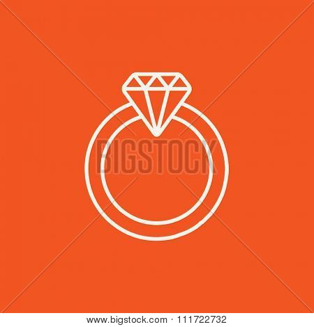 Diamond ring line icon for web, mobile and infographics. Vector white icon isolated on red background.