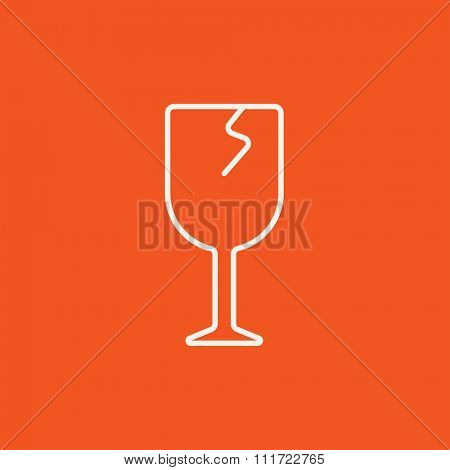 Cracked glass line icon for web, mobile and infographics. Vector white icon isolated on red background.