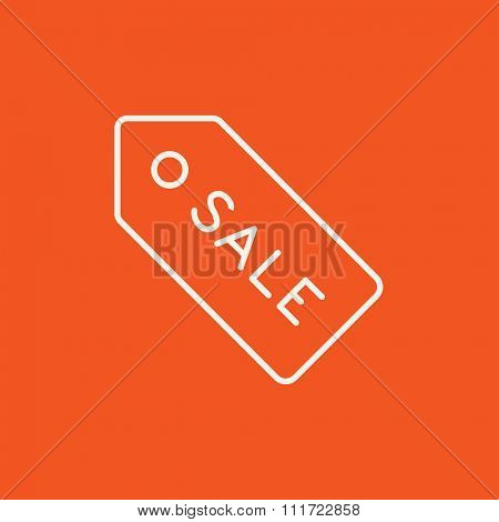 Sale tag line icon for web, mobile and infographics. Vector white icon isolated on red background.