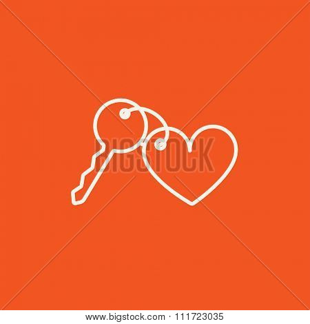 Trinket for the keys as a heart line icon for web, mobile and infographics. Vector white icon isolated on red background.