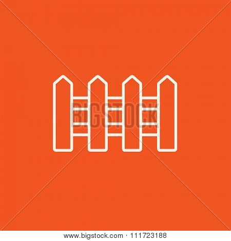 Fence line icon for web, mobile and infographics. Vector white icon isolated on red background.